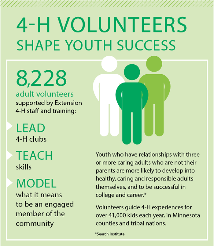 Graphic: 4-H volunteers shape youth success 8,228 adult volunteers supported by Extension 4_H staff and training: LEAD 4-K clubs, TEACH skills, MODEL what it means to be an engaged member of the community  Youth who have relationships with three or more caring adults who are not their parents are more likely to develop into healthy, caring and responsible adults themselves, and to be successful in college and career.*  Volunteers guide 4-H experiences for over 41,000 kids each year, in Minnesota counties an