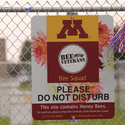 "U of M Bee Veterans sign reading ""Please do not disturb"""