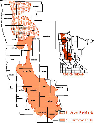 Map of northwest Minnesota shaded to show ecological regions