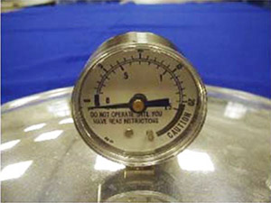 Dial gauge on pressure canner.