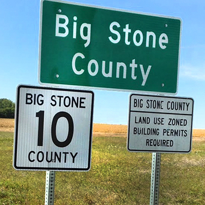 Big Stone County road sign