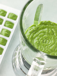 Broccoli and spinach baby food.