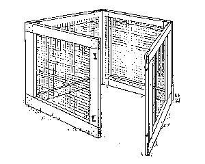 Black and white drawing of portable wood and wire composting bin