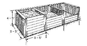 Black and white drawing of three chambered compost bin