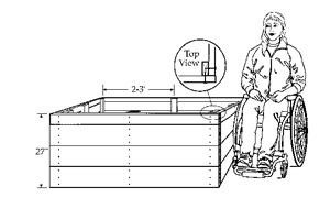 Black and white drawing of a containerized garden bed and a gardener in a wheelchair