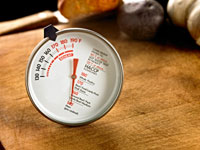 Food thermometer on table.