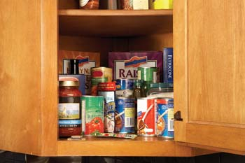 Food in kitchen cabinet.