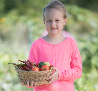 Girl in garden holding basket of vegetables