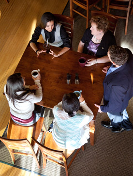 Small group meeting over coffee