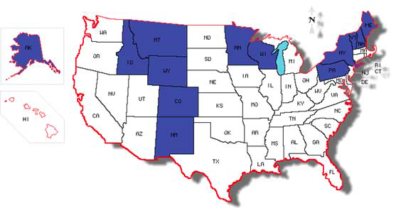 map of United States of America with states that have BRR reported identified by a different color.