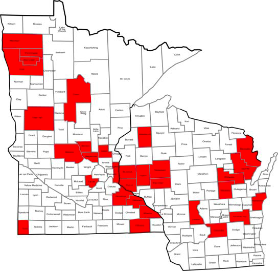 map of Minnesota and Wisconsin with counties that have reported BRR identified.