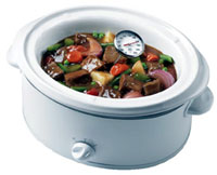 Slow cooker with a thermometer.