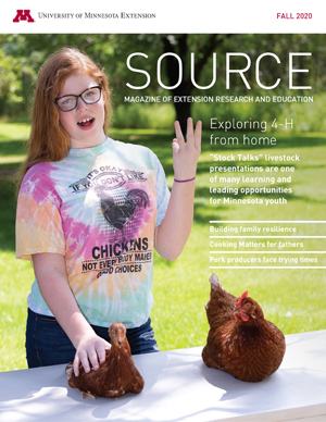 Source Fall 2020 cover; girl doing outdoor chicken demonstration