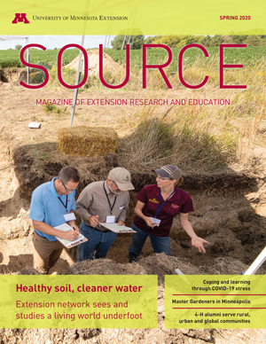 "Cover of Source magazine; featured story is ""healthy soil, cleaner water"""