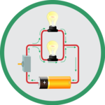 drawing of an electrical circuit with light bulbs