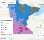 Map of Minnesota showing different colors in counties corresponding to land value.