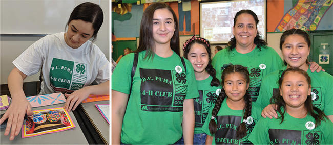 Collage: girl working on art project; group of 4-H'ers with adult leader