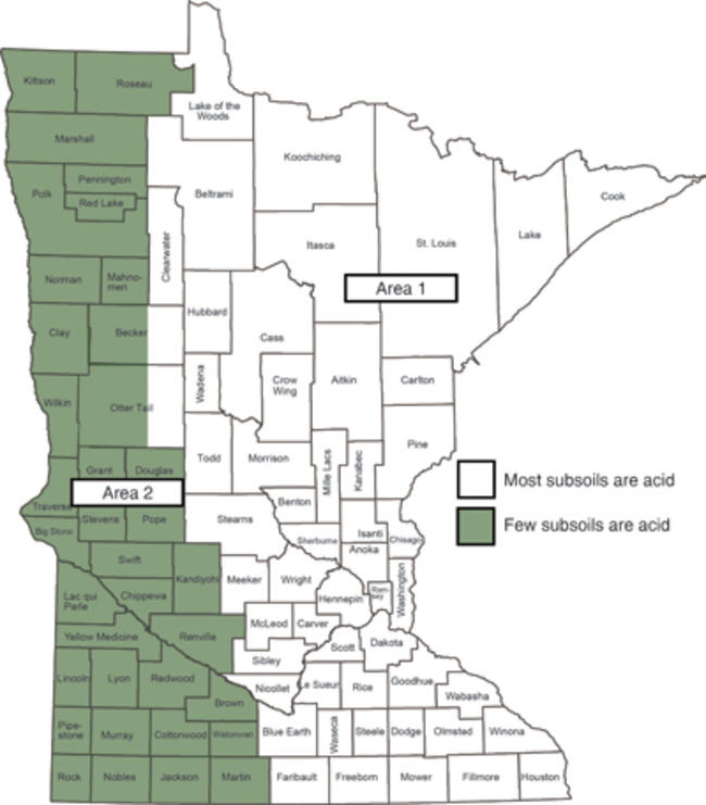 Map of Minnesota, western third is shaded green
