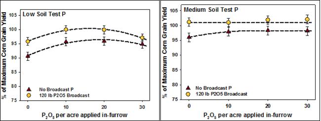 Two graphs showing corn yield response to P in low and medium soil test P.