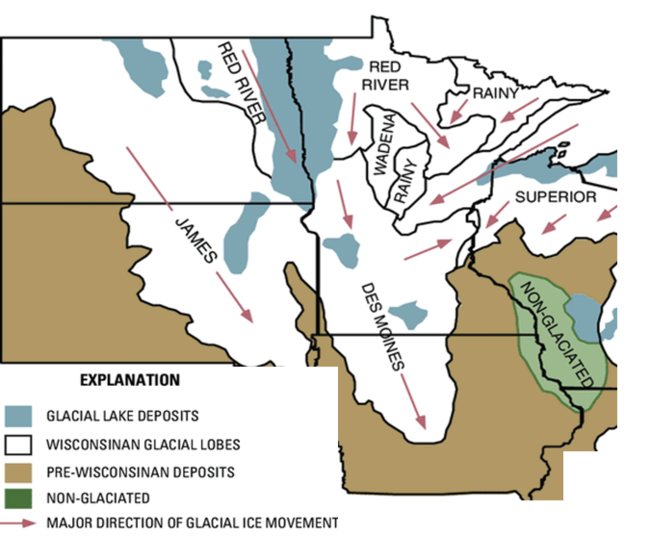 glacial geographic map of Upper Midwest