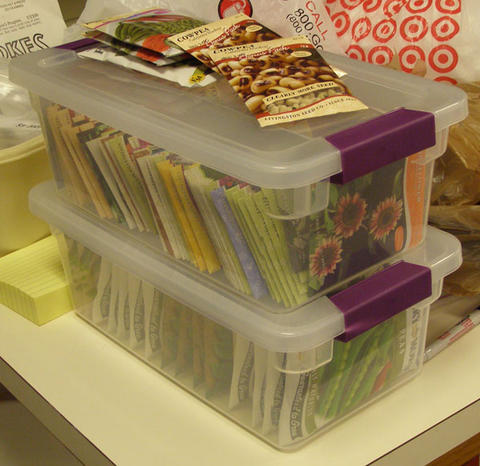 Clear plastic boxes filled with seed packets