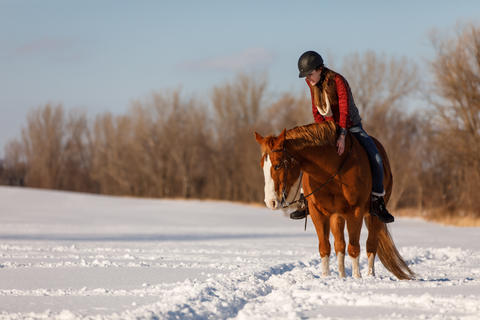 Woman riding a brown horse in the snow.