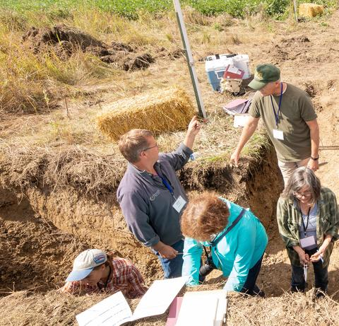 Six people in a trench as field day. Two are talking to each other and the others are chiseling soil.