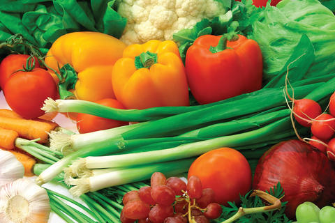 Harvested vegetables: onions, tomatoes, peppers, spinach, cauliflower, carrots and onions