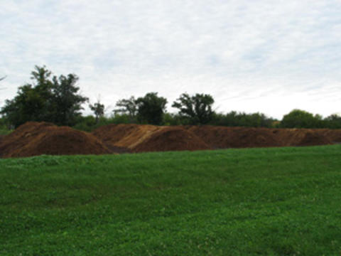 Mounds of manure.
