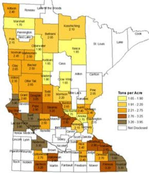 Map of Minnesota showing forage production yields by county. greatest yields are in southeast and west-central Minnesota