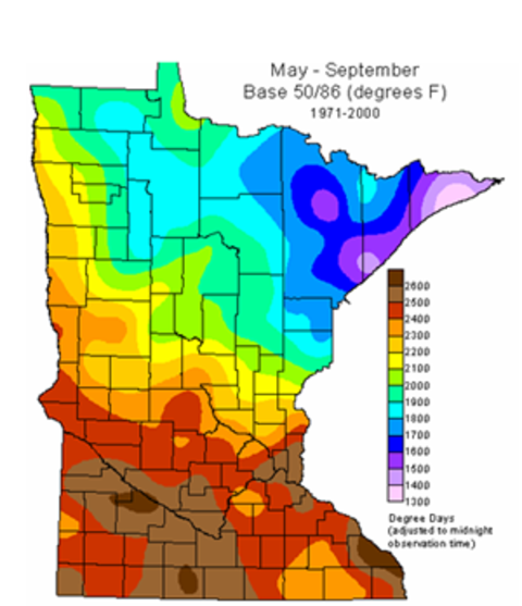 Map of Minnesota with the most GDD accumulation in southwest MN and southeast corner, and the least in the arrowhead region.