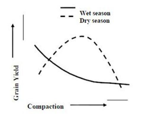 diagram of grain yield versus compaction.