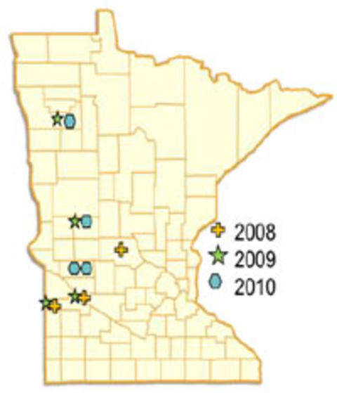 State map of Minnesota with counties outlined. Markers indicating where rolling was done in years 2008, 2009, 2010.