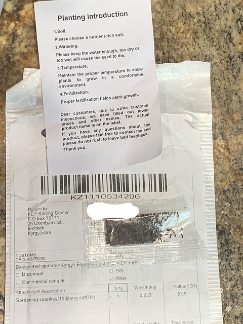 mystery seeds appearing to come from China with invoice and instructions