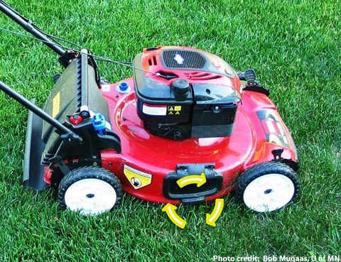 Mulching/recycling mower on a green lawn.