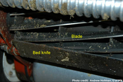 Blade and bed knife parts of reel mower.