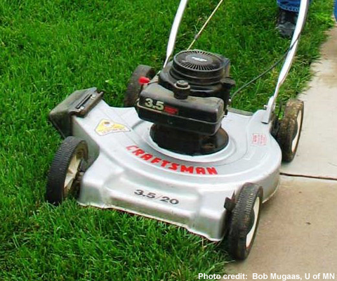 Rotary mower mowing a green lawn.
