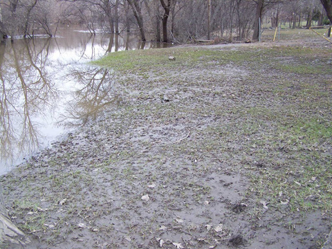 A spring-flooded lawn covered in silt and debris adjacent to river with signs of turf damage.