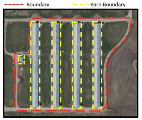 aerial photo with boundaries drawn around property and barns