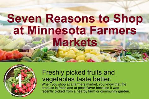 Top portion of Seven reasons to shop at Minnesota farmers markets infographic