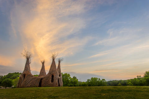 Beautiful willow house structure with four cone-shaped corners rising
