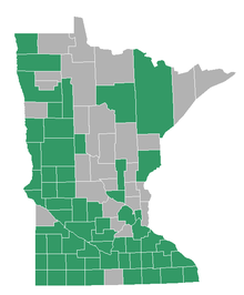 state of minnesota with learning kit counties highlighted in green