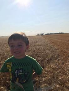 child standing in front of a farm field growing with a tractor in the background and blue sky and sun.