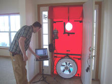 Blower door during home air testing.