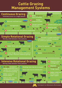 Thumbnail of poster graphic depicting the pros and cons of continuous grazing, simple rotational grazing, and intensive rotational grazing. The graphic is split into thirds with the top third depicting a continuous grazing system, the middle third a simple rotational system, and the bottom third an intensive rotational system.
