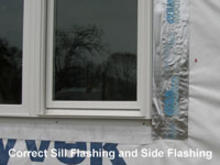 Correct sill flashing.