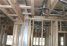 Framing with ductwork.