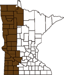 Map of Minnesota indicating the nitrate recommended counties.
