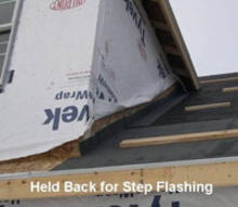 Step flashing on house roof.