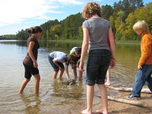 12-year-olds explore Minnesota shallow lake water